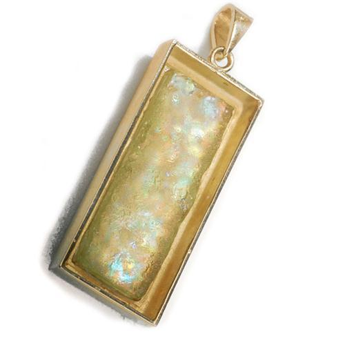 14k Gold Yemenite Roman Glass Mezuzah Pendant 2 - Baltinester Jewelry