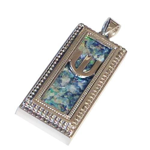 14k White Gold Yemenite Design Roman Glass Mezuzah Pendant - Baltinester Jewelry