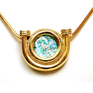 14k Roman Glass Horse Shoe Gold Necklace - Baltinester Jewelry
