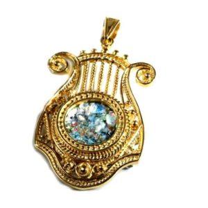 14k Gold Roman Glass Harp of David Pendant - Baltinester Jewelry
