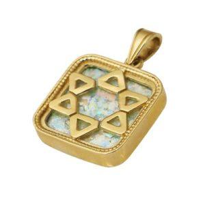 14k Gold Roman Glass Star of David Square Pendant - Baltinester Jewelry