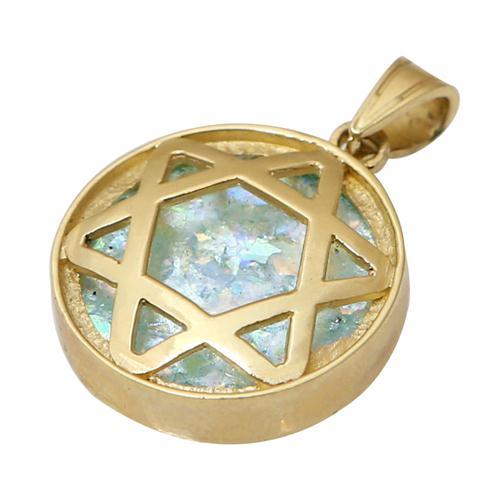 Roman Glass Star of David Large Pendant in 14k Yellow Gold - Baltinester Jewelry