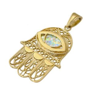 14k Gold Filigree Hamsa and Evil Eye Roman Glass Pendant - Baltinester Jewelry