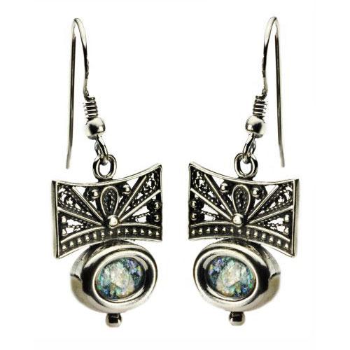 Sterling Silver Filigree Roman Glass Oval Earrings - Baltinester Jewelry