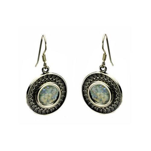 Sterling Silver Yemenite Circle Filigree Roman Glass Earrings - Baltinester Jewelry