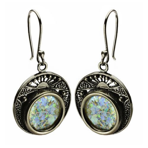 Sterling Silver Filigree Roman Glass Circles Earrings - Baltinester Jewelry