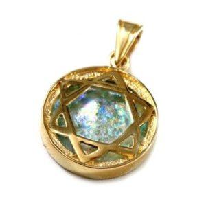 14k Gold Domed Roman Glass Star of David Pendant - Baltinester Jewelry
