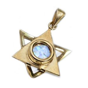 14k Gold Dual Layered Roman Glass Star of David Pendant - Baltinester Jewelry