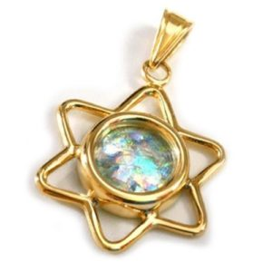 14k Gold Roman Glass Cutout Star of David Pendant - Baltinester Jewelry