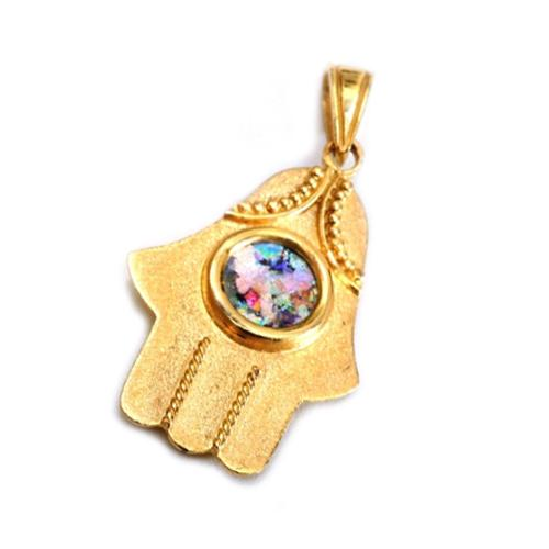 Embellished 14k Gold Roman Glass Hamsa Pendant - Baltinester Jewelry