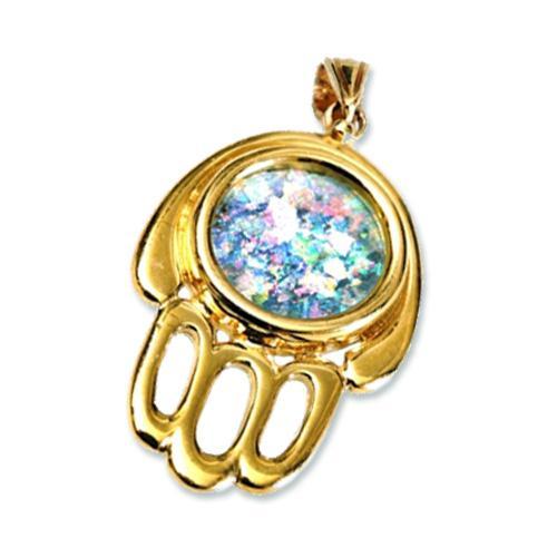 14k Gold Roman Glass Hamsa Pendant - Baltinester Jewelry