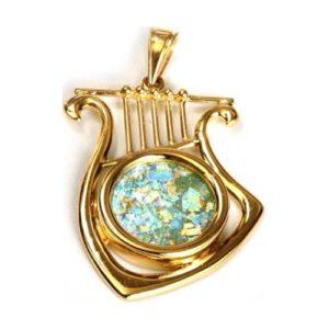 14K Gold Harp of David Roman Glass Pendant - Baltinester Jewelry