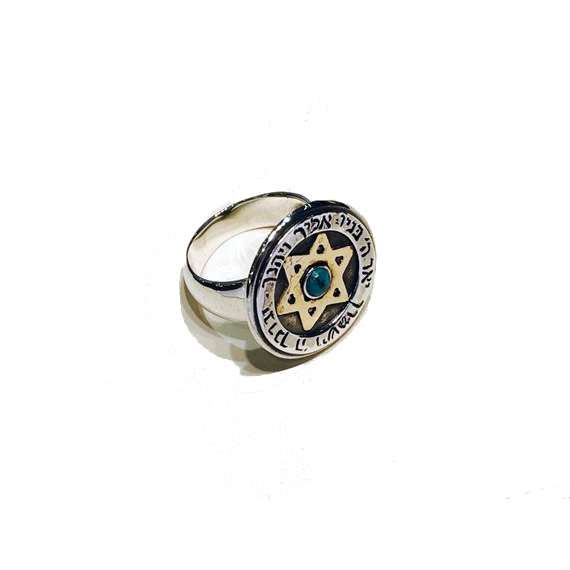 Silver and Gold Turquoise Protection Kabbalah Ring 3 - Baltinester Jewelry