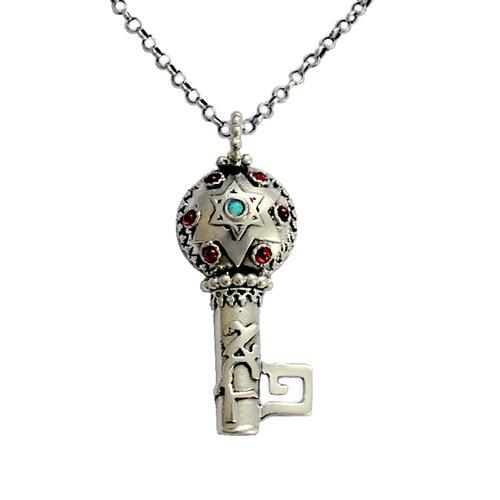 Silver Key Garnet and Opal Kabbalah Necklace - Baltinester Jewelry