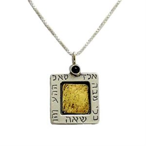 Silver and Gold Square Black Onyx Kabbalah Necklace - Baltinester Jewelry