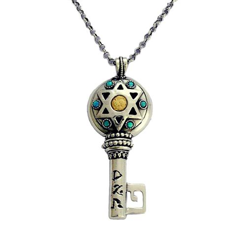 Sterling Silver and Gold Key Opal Kabbalah Necklace - Baltinester Jewelry