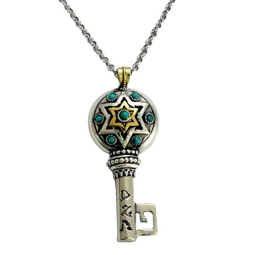Silver and Gold Key Turquoise Success Kabbalah Necklace - Baltinester Jewelry