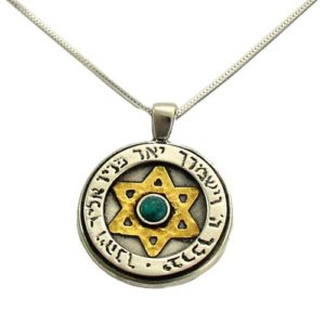 Silver and Gold Turquoise Protection Kabbalah Necklace - Baltinester Jewelry
