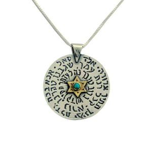 Silver and Gold Health and Prosperity Opal Kabbalah Necklace - Baltinester Jewelry