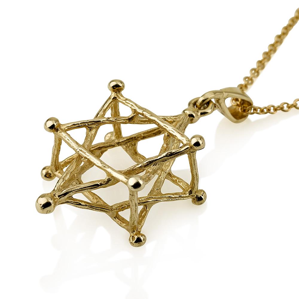 14k Gold Kabbalah Star of David Pendant 2 - Baltinester Jewelry