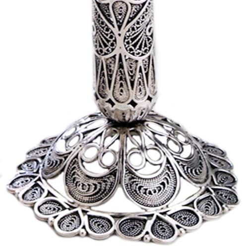 Silver Tall Filigree Loop Candle Holders 3 - Baltinester Jewelry
