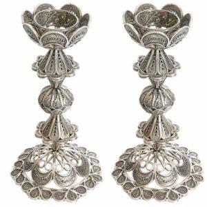Sterling Silver Flower Filigree Candle Holders - Baltinester Jewelry