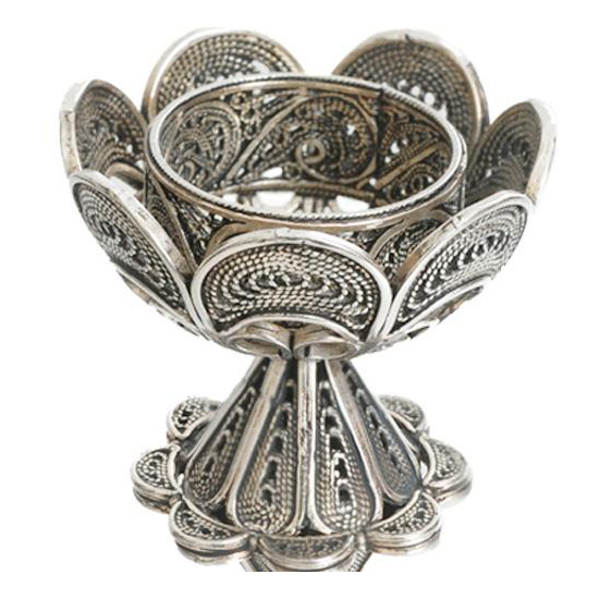 Sterling Silver Flower Filigree Candle Holders 4 - Baltinester Jewelry