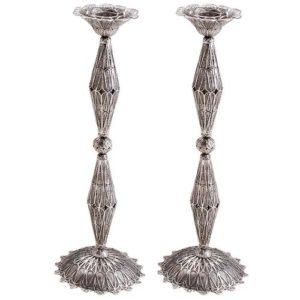 Sterling Silver Tall Filigree Candlesticks - Baltinester Jewelry