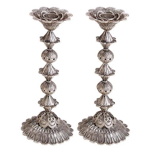 Sterling Silver Tall Flower Filigree Candlesticks - Baltinester Jewelry