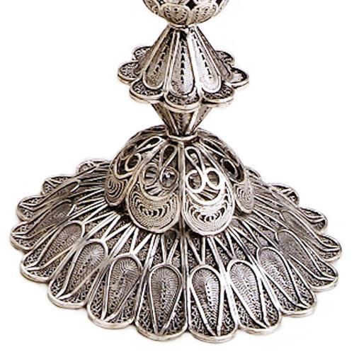 Sterling Silver Tall Flower Filigree Candlesticks 3 - Baltinester Jewelry