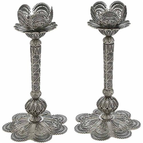 Sterling Silver Large Filigree Flower Candle Holders - Baltinester Jewelry