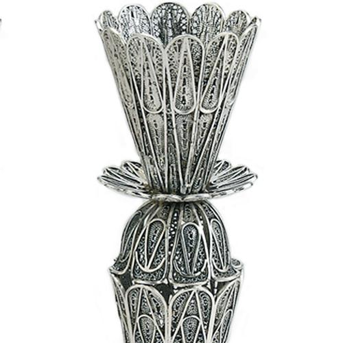 Large Filigree Lace Silver Candle Holders 2 - Baltinester Jewelry