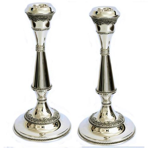 Silver Yemenite Border Candle Holders - Baltinester Jewelry