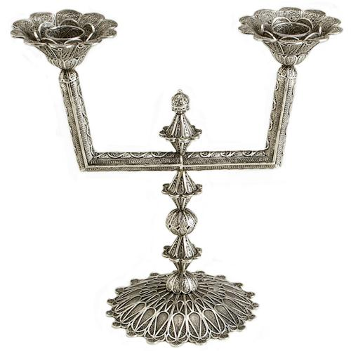 Sterling Silver Filigree Square Candelabra - Baltinester Jewelry