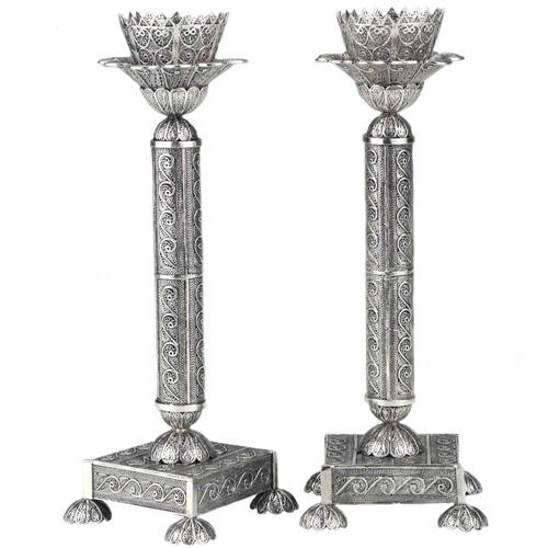 Silver Filigree Tall Square Candle Holders - Baltinester Jewelry