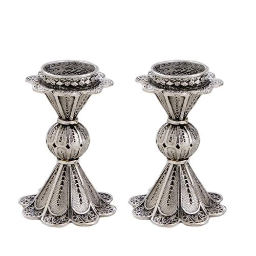 Silver Miniature Filigree Candle Holders - Baltinester Jewelry