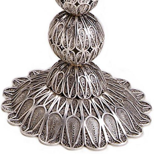 Filigree Knobs Silver Candle Holders 2 - Baltinester Jewelry