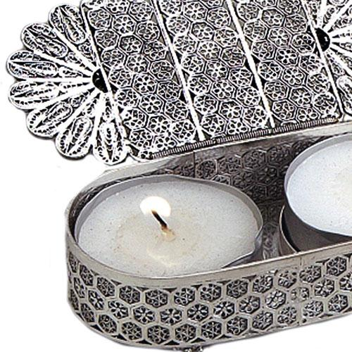 Silver Filigree Traveling Tea Lights Holder 3 - Baltinester Jewelry