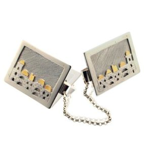 Silver and Gold Jerusalem Tallit Clips - Baltinester Jewelry