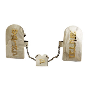 Ten Commandments Silver and Gold Name Talit Clip - Baltinester Jewelry