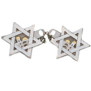 Jerusalem Star of David Silver Tallit Clips - Baltinester Jewelry