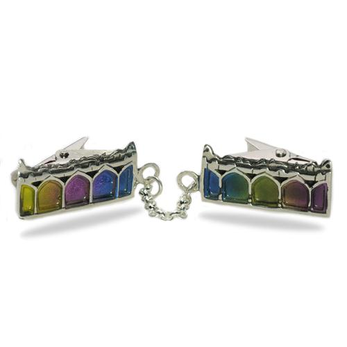 Multicolored Enamel Jerusalem Arches Silver Tallit Clips - Baltinester Jewelry