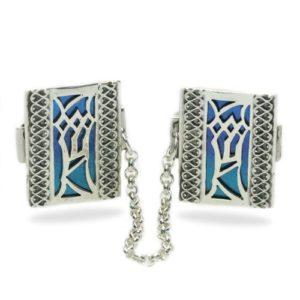 Enamel Multicolored Mezuzah Style Silver Tallis Clips - Baltinester Jewelry