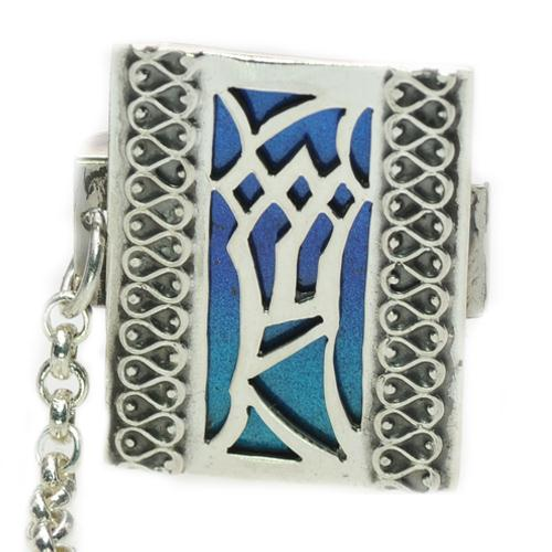 Enamel Multicolored Mezuzah Style Silver Tallis Clips 2 - Baltinester Jewelry