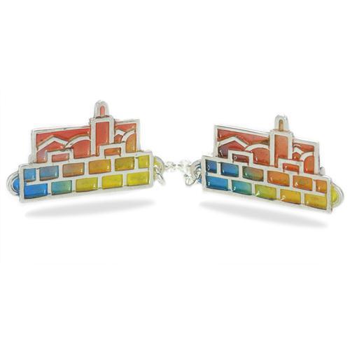 Enamel Multicolored Jerusalem Skyline Silver Tallit Clips - Baltinester Jewelry