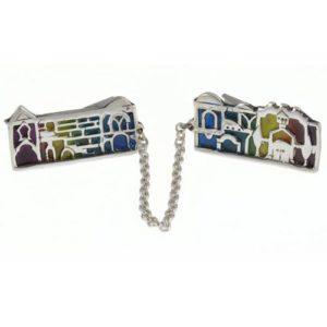 Silver Jerusalem Enamel Tallit Clip - Baltinester Jewelry