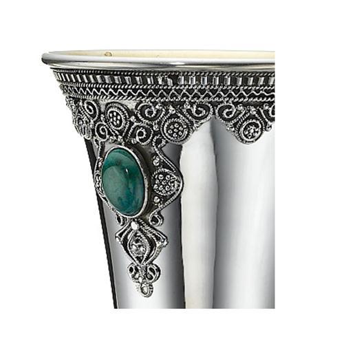 Jerusalem Skyline Eilat Stone Sterling Silver Square Kiddush Cup 4 - Baltinester Jewelry