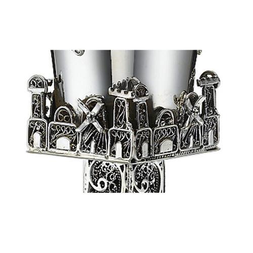 Jerusalem Skyline Eilat Stone Sterling Silver Square Kiddush Cup 3 - Baltinester Jewelry