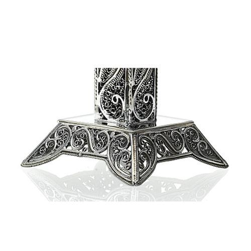 Jerusalem Skyline Eilat Stone Sterling Silver Square Kiddush Cup 2 - Baltinester Jewelry