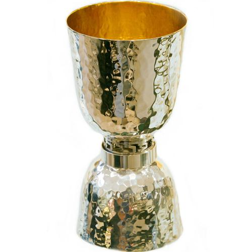 Silver Hammered Wide Shot Glass and Kiddush Cup - Baltinester Jewelry